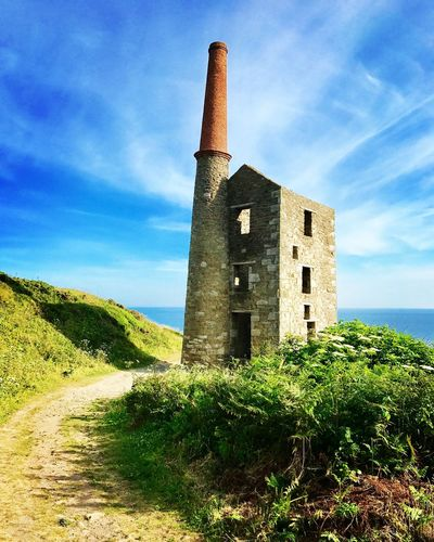 Architecture History Sky Built Structure Day No People Grass Outdoors Building Exterior Nature Rinsey Head Visit Cornwall Horizon Over Water Cornwall Tranquility West Country Tin Mine