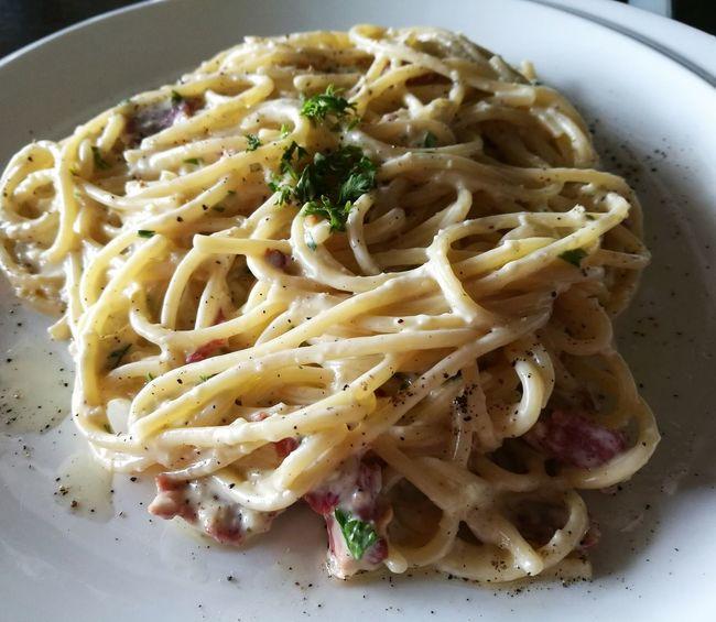 Spaghetti Carbonara At Verve Cafe Carbonara Food Healthy Eating Italian Food Littlefoodtrail Pasta Ready-to-eat Spaghetti Western Food