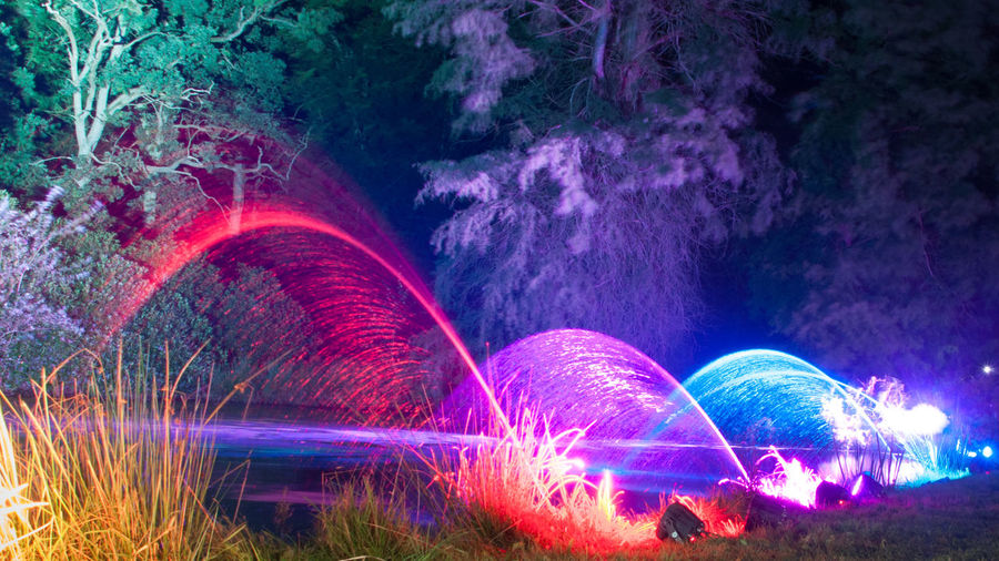 Colorful light painting at night