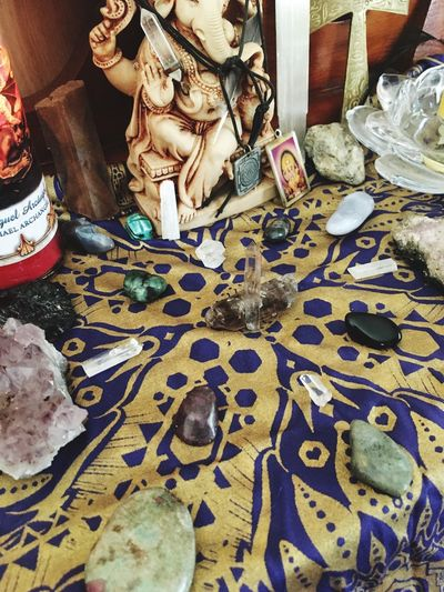 The Magic Mission For Sale Indoors  High Angle View Crystalgrid Shrine Spirituality Spiritjunkie Ganesha ArchangelMichael Large Group Of Objects Man Made Object Collection Freshness Choice