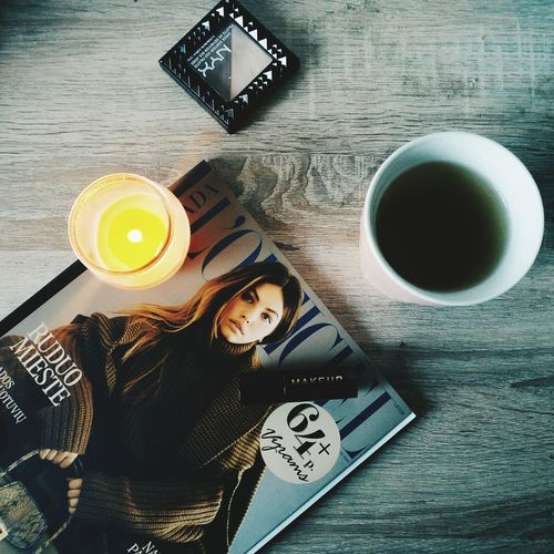 Drink Table Tea - Hot Drink Directly Above Food And Drink Coffee - Drink High Angle View Indoors  Coffee Cup Refreshment No People Day Freshness Close-up Time To Reflect Time For Yourself Magazine Makeup Candle Lipstick Fashion Nyxcosmetics Makeuprevolution