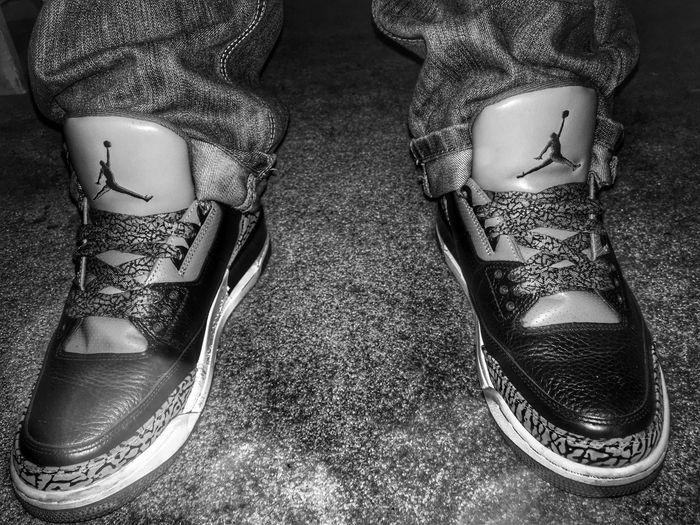 Black Cement 3s Air Jordan Air Jordan 3 Black Cement Sneakers Blackandwhite Kicks