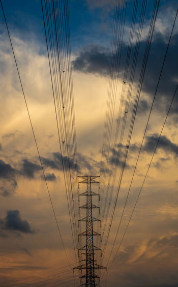 When the wires meet the sky Industrial Dawn Sunset Technology Backgrounds Sky Power Line  Romantic Sky Electricity  Cable Electricity Tower Power Cable Wire