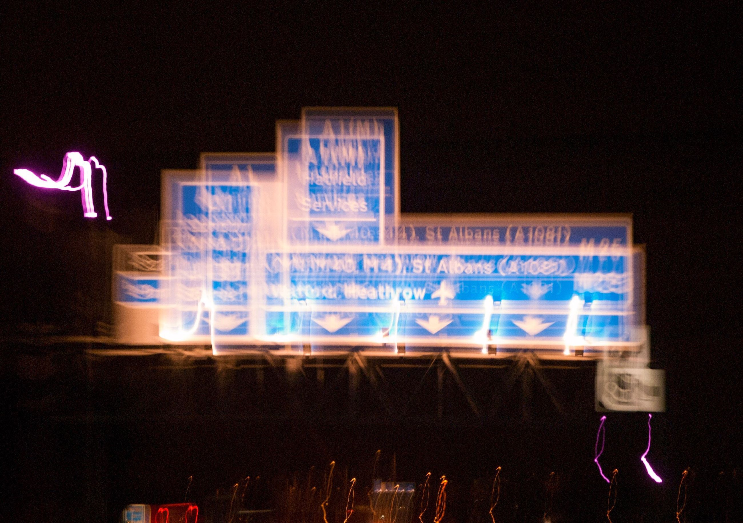 communication, illuminated, text, night, western script, neon, information, information sign, advertisement, blue, sky, neon light, outdoors, commercial sign, symbol, signboard, modern