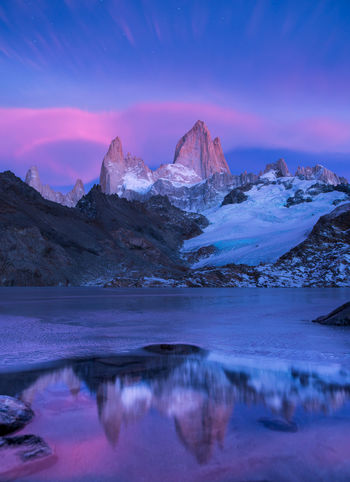 Mount Fitz Roy captured at pre daw sunrise and after sunrise. These photos captured during a 4 day camping at the base of this lake. Patagonia Patagonia Argentina Fitz Roy Mountain Mount Fitz Roy Mountain Sky Beauty In Nature Water Tranquil Scene Scenics - Nature Lake Winter Ice No People Nature Snow Mountain Range Remote Travel Destinations Travel Tranquility Snowcapped Mountain Sunrise Dawn