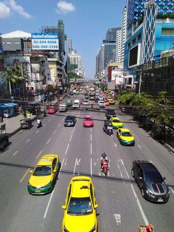 traffic in bangkok city Street Building Life Tree Car Architecture Metropolis Bangkok Thailand Town City Yellow Taxi Cityscape Car City Life Road City Street Taxi Traffic Traffic Jam Moving Bus Bus Stop