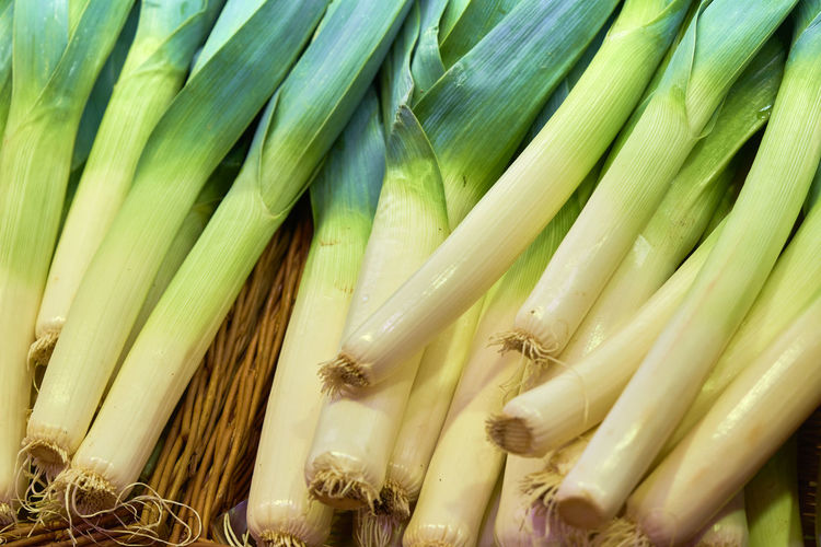 Full frame shot of leek for sale at market stall