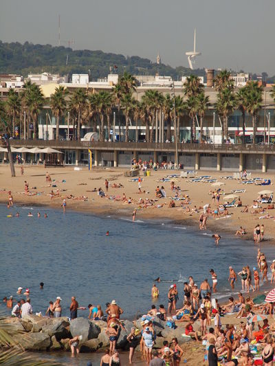 Barcelona Bathers Beach Beach Day Casual Catalonia Composition Crowd Europe Fun Leisure Activity Lifestyles Mediterranean  Mixed Age Range Real People Sea SPAIN Summertime Tourism