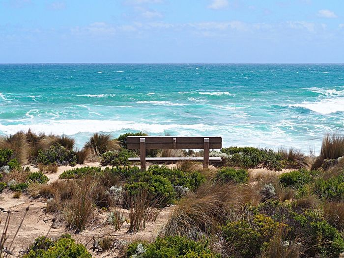 Australia Australian Landscape Bench With A View Bench Sea Water Horizon Over Water Horizon Sky Land Beach Beauty In Nature Wave No People Nature Plant Outdoors
