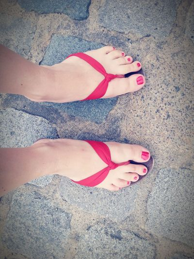 Shoes Flip Flops Red Red Toes Two Is Better Than One