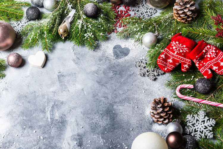 High angle view of christmas decorations on table