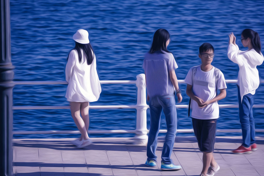 Adult Casual Clothing Child Day Full Length Girls Group Of People Hairstyle Leisure Activity Lifestyles Men Nature Outdoors People Real People Rear View Sea Shorts Standing Swimming Pool Teenager Togetherness Water Women