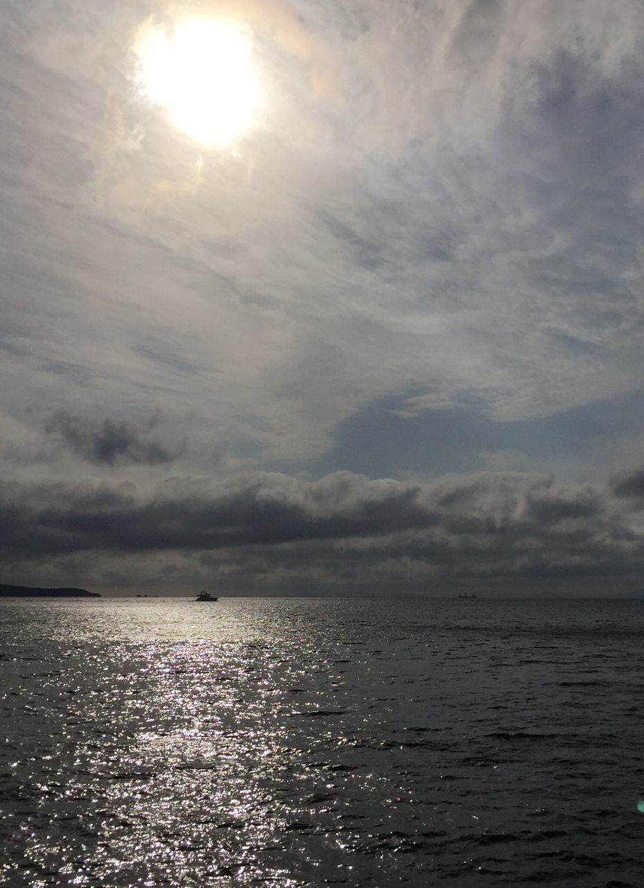 sea, sunbeam, tranquility, sun, sky, sunlight, tranquil scene, cloud - sky, no people, water, beauty in nature, scenics, rippled, nature, horizon over water, sunset, outdoors, day