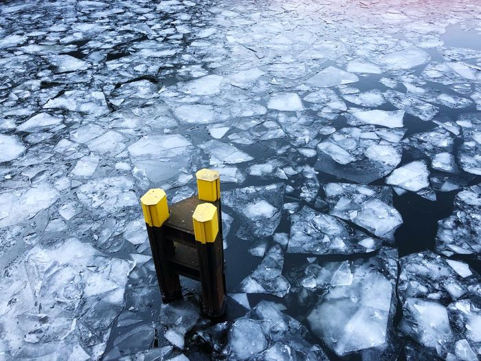 Ice Floes Cold Water Yellow River Winter Ice