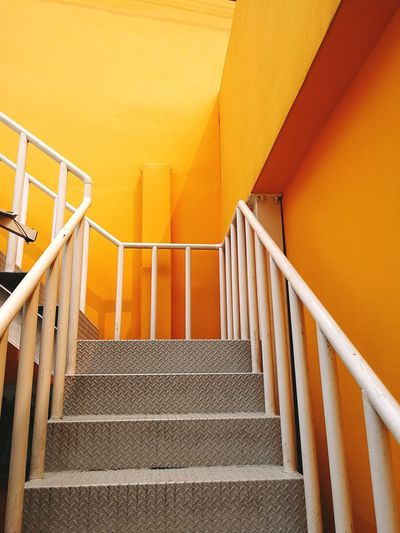 Spiral Staircase Hand Rail Yellow Steps And Staircases Steps Staircase Stairs Railing Architecture Built Structure Step Ladder Emergency Exit