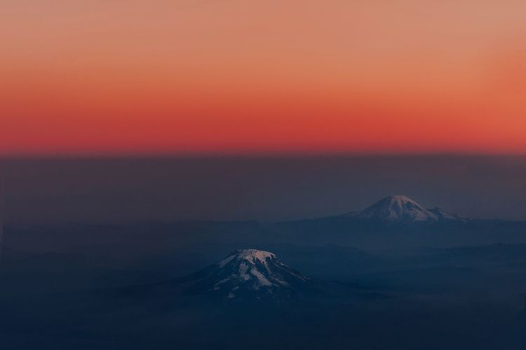 Helens PNW Mountain Nature Photography Travel Destinations Moody Beauty In Nature Adventure Beauty In Nature Scenics - Nature Sky Tranquility Tranquil Scene Volcano Sunset Mountain Environment Nature Aerial View Dramatic Sky