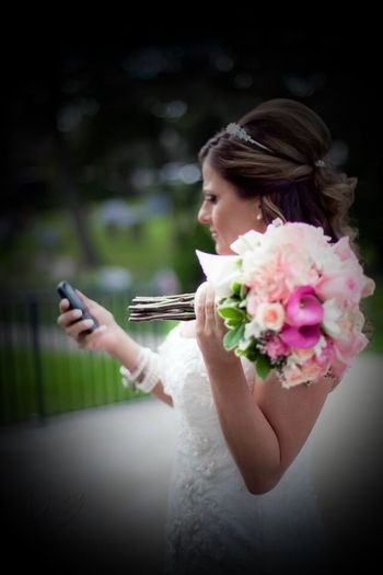 Waiting On the Groom Candid Flower Bride Wedding Dress People Bouquet Close-up Fashion Stories