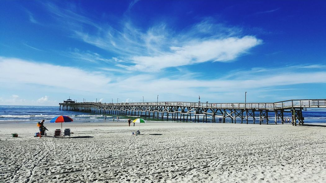 Beach Sea Sand Shore Sky Vacations Water Horizon Over Water Tranquil Scene Blue Summer Ocean Tranquility Group Of People South Carolina Cloud - Sky Outdoors Nature Pier Scenics Myrtle Beach SC Cherry Grove Pier Finding New Frontiers North Myrtle Beach Neighborhood Map Lost In The Landscape