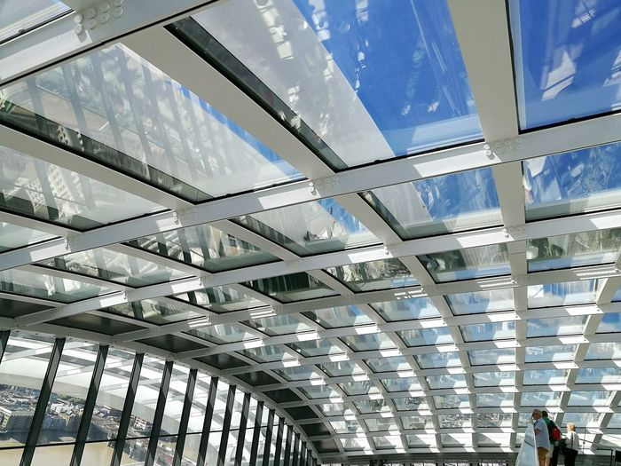Architecture Built Structure Glass - Material Architecture Architectural Detail Sky Garden Lines Sun Reflections And Shadows Structure And Sky Structure Photography Rofftop Terrace Steel Structure
