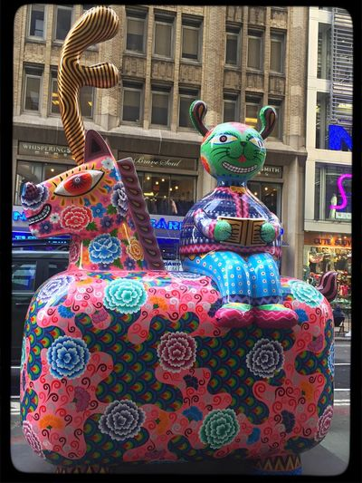 fancy animal sculptures by hung yi Multi Colored Art Animal Representation Garment District Outdoors Sculpture Tadaa Community Art Is Everywhere