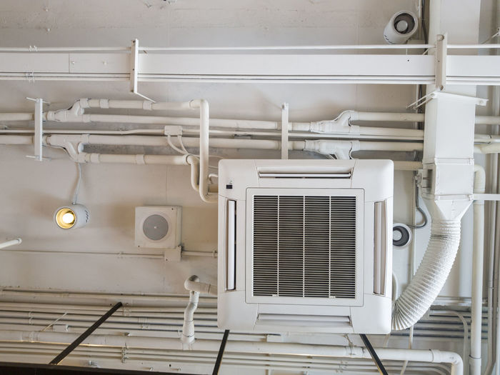 Air Ceiling Ventilation Conditioning Duct Conditioner System Building Cooling  HVAC Cleaning Cold Service Modern Technology Fresh Heating Metal Cool Heat Temperature Fan Installation White Vent Industrial Industry Pipe Electric Indoor Background Interior Condition Climate Wall Steel Tube Mechanical Machinery Design Office Systems Equipment Control Circulation
