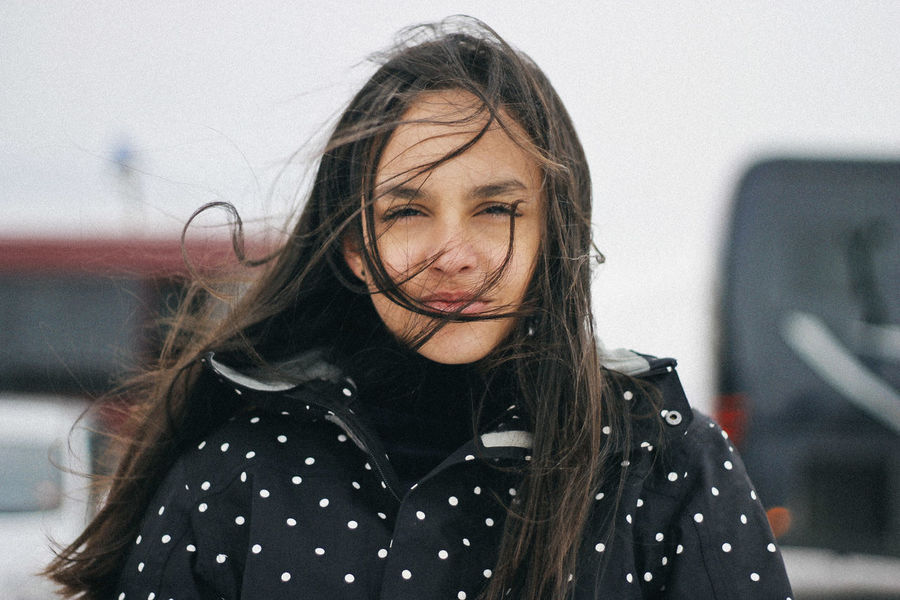 Valle Nevado, 2016 Chile Looking At Camera Travel Winter Close-up Cold Cold Temperature Day Focus On Foreground Front View Long Hair Look Movement One Person Outdoors Portrait Portrait Photography Real People Snow Teenager Wind Windy Young Adult Young Woman Young Women