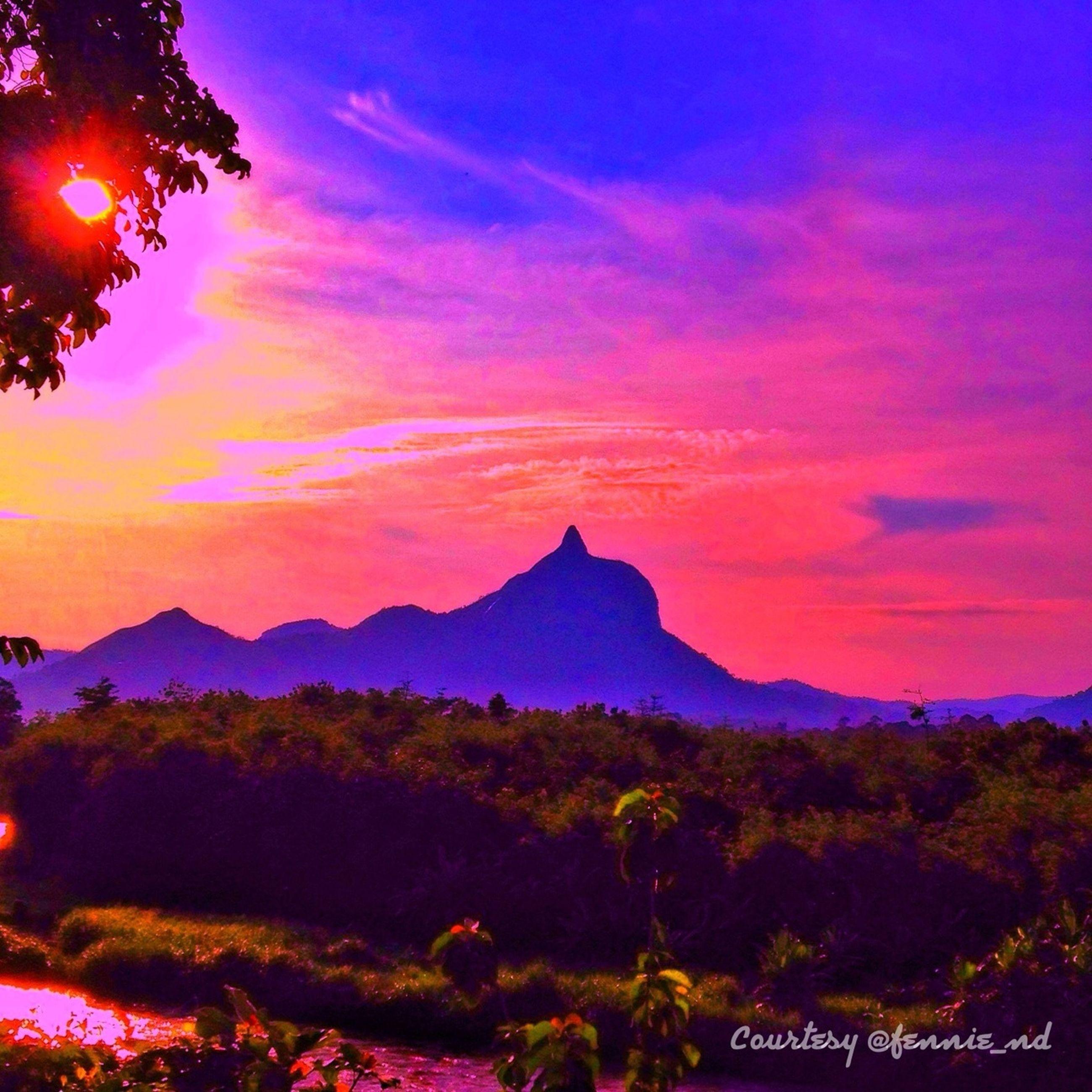 sunset, mountain, scenics, sky, tree, beauty in nature, tranquil scene, tranquility, silhouette, orange color, nature, cloud - sky, idyllic, mountain range, landscape, dusk, cloud, travel destinations, majestic, tourism