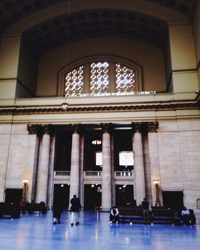 Entrance to Trains at Chicago's Union Station Union Station Chicago Built Structure Architecture Architectural Column Indoors  Group Of People Real People Incidental People Travel