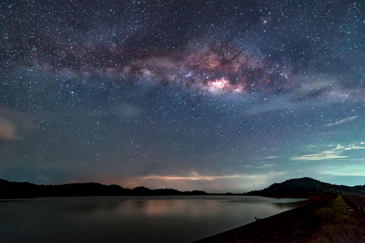 Astronomy Beauty In Nature Galaxy Idyllic Lake Milky Way Mountain Nature Night No People Outdoors Scenics - Nature Sky Space Space And Astronomy Star Star - Space Star Field Tranquil Scene Tranquility Water