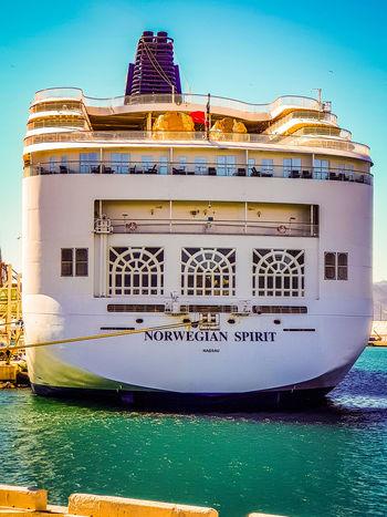 Cruise ship #NCL Spirit. Cruise Ship Cruise Cruise Ship Docking Norwegiancruiseline Ncl #nclspirit Sea Travel Dock Water Blue Travel Destinations No People Sky