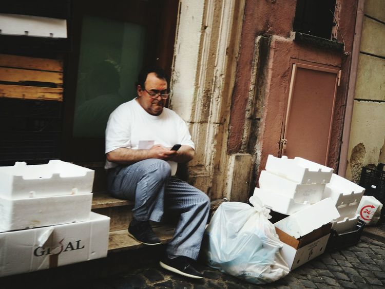 One Man Only Communication Backdoor Having A Break Waste Working Sitting Adult The Photojournalist - 2017 EyeEm Awards The Great Outdoors - 2017 EyeEm Awards Eyeemphotography From My Point Of View The Street Photographer - 2017 EyeEm Awards BYOPaper! The Portraitist - 2017 EyeEm Awards Streetphotography Makemoreportraits City Color Photography One Person