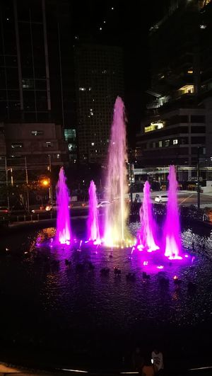 Fountain Show Dancing Fountain Uptown Mall Night Lights Night Photography Millennial Pink