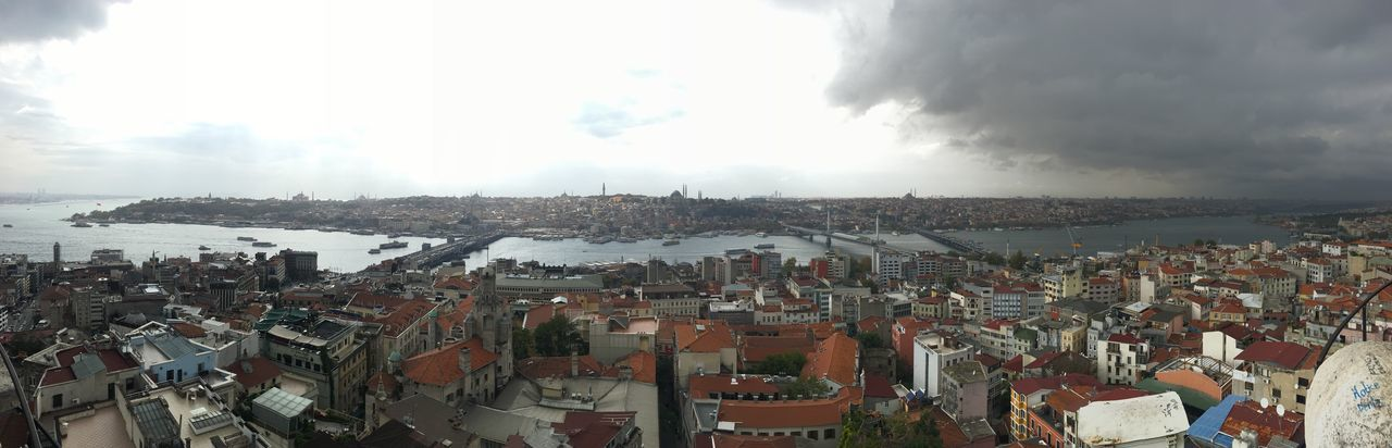 Galata Tower Istanbul Haliç City Building Exterior Architecture Sky Cityscape Built Structure Cloud - Sky High Angle View Crowded Panoramic Outdoors Travel Destinations