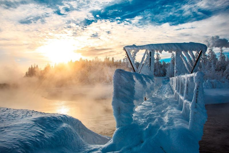 Bridge in the frost Bridge Frost Winter Cloud - Sky Sky Nature Water Sunset Sunlight Beauty In Nature Scenics - Nature Outdoors Cold Temperature Landscape Sun Blue Power In Nature
