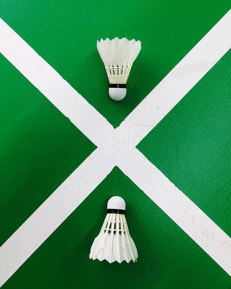 badminton court Badminton Court Indoors  Sport Close-up Green Color Colored Background Triangle Shape Cross Shape Building Settlement