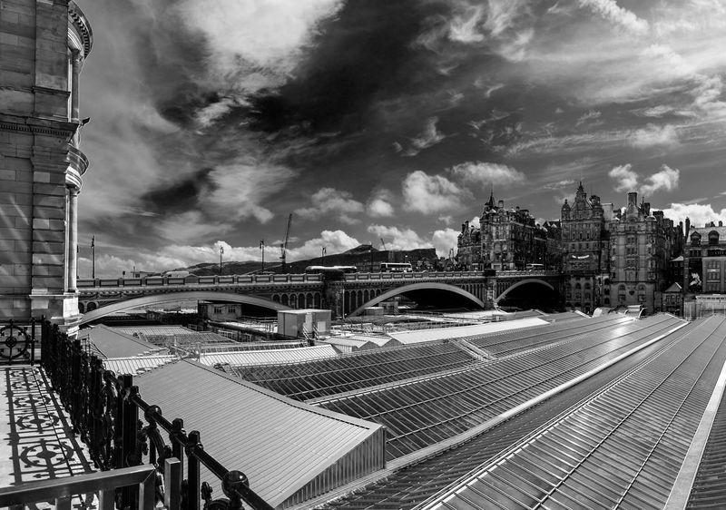 Edinburgh Skyline with North Bridge looking over Waverley Station rooftops. Architecture Black And White Bridges City Cityscape Cloud - Sky Edinburgh Monochrome North Bridge Edinburgh Scotland Sky Travel Travel Destinations Urban Skyline Waverley Station