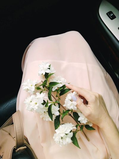 Jasmine on the dress Jasmine Travel #ontheroad #Road #trip #Nature  #photography #Hand #flowers #car #Dress Flower High Angle View Close-up First Eyeem Photo