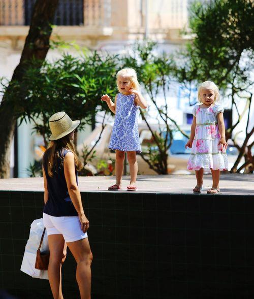 Focus On The Story Child Blond Hair Full Length Childhood Togetherness City Females Girls Bonding Friendship