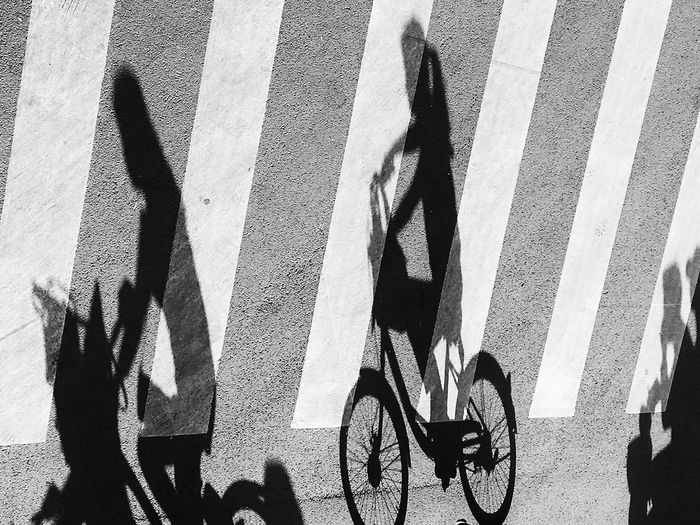 Shadow Of Women Riding Bicycle On Road