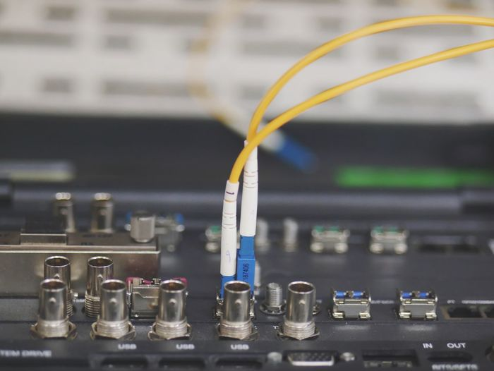 Close-Up Of Cables Connected On Audio Equipment