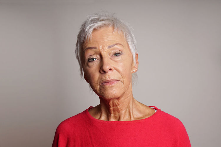 Best Ager Copy Space Headshot Looking At Camera Mature Adult Mature Woman Older Person People Person Portrait Senior Serious Studio Woman