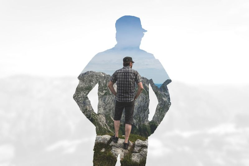 Self Portrait Self Portrait Sky Real People Standing Nature Day Men Three Quarter Length Lifestyles Rear View Mountain Full Length Leisure Activity Adult Young Adult Scenics - Nature Outdoors Beauty In Nature Casual Clothing Looking At View