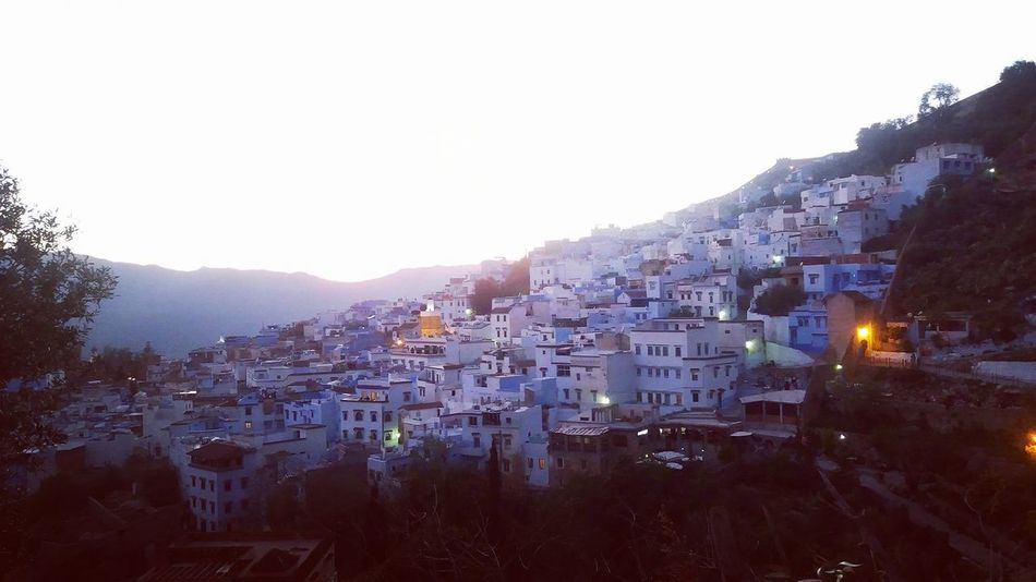 Morocco Beauty Morroco Chaouen Chefchaouen Mountain Bluecity House Building Exterior Residential Building High Angle View Cityscape No People Outdoors Architecture Winter City Sky Day Tree Clear Sky Urban Skyline Nature Connected By Travel