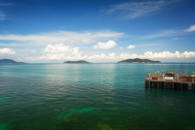 Crystal clear and turquoise sea water of the tropical sea . Bay Beach Beautiful Blue Calm Coast Coastline Coconut Day Dream Hot Idyllic Island Jump Lagoon Malaysia Nature Nobody Ocean Outdoor Palm Panorama Paradise Parasol Plant Rawa Relax Relax Chair Resort Sand Scenery Scenic Sea Seascape Shore Sky Speed Boat Summer Sun Sunlight Sunny Swim Tourism Tranquil Travel Tree Tropic Tropical Vacation Water