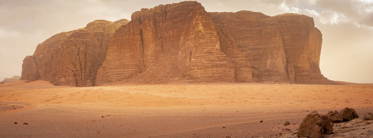 Panorama of khazali mountain in the desert of wadi rum, jordan.