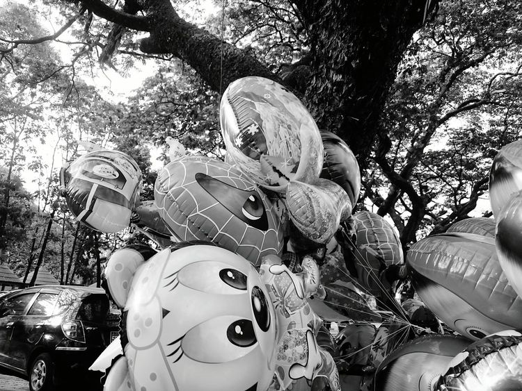 Showcase March Hanging Out Enhance Check This Out Enhanced Enjoying Life Taking Photos Blackandwhite Black And White Photography Black & Whitein the Park , Kandawgyi Balloons Cartoon Character Figures Toys for Children , Yangon, Myanmar