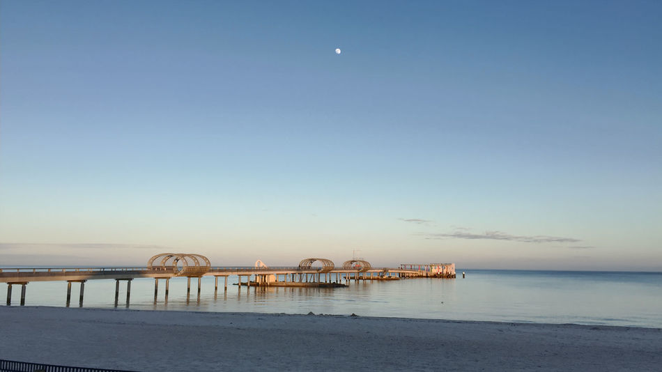 Architecture Beach Horizon Over Water Moon Nature No People Outdoors Sea Sky Water