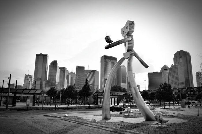 Architecture Shades Of Grey Dallas Skyline Traveling Man Deep Ellum Dallas Texas Black And White The Architect - 2016 EyeEm Awards