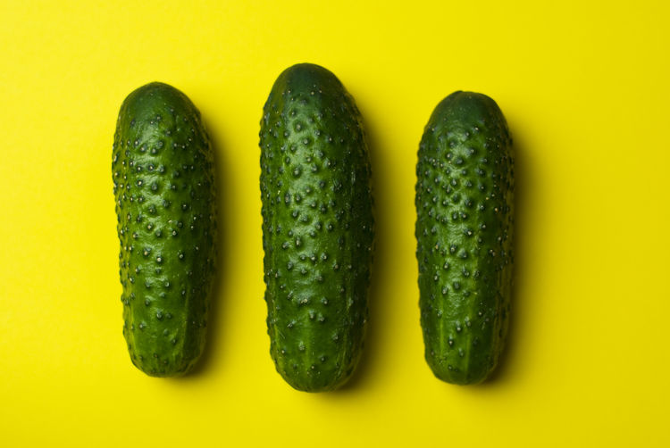 Close-up Colored Background Directly Above Food Food And Drink Freshness Green Color Group Of Objects Healthy Eating Indoors  No People Organic Side By Side Still Life Studio Shot Three Objects Vegetable Wellbeing Yellow Yellow Background