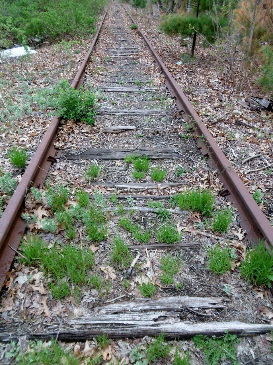railroad track, rail transportation, railroad tie, transportation, no people, railway track, day, railroad, outdoors, nature, railway, parallel